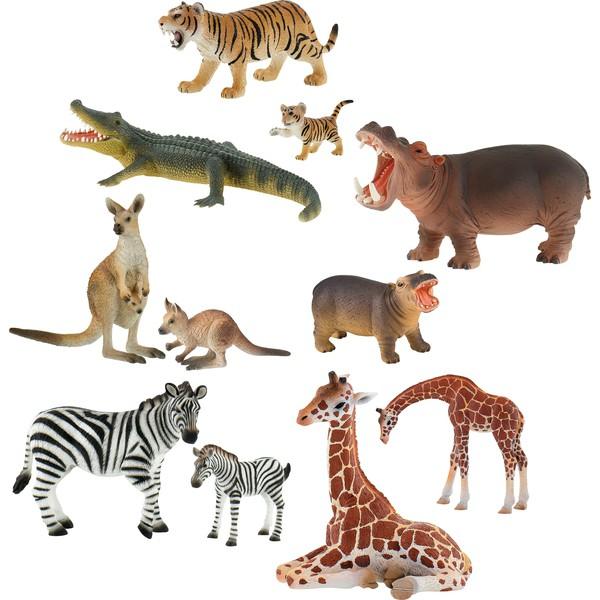 Zestaw dzikich zwierząt z zoo