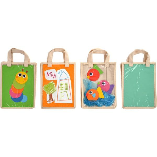 Bawełniane torby z kieszenią, 5 sztuk