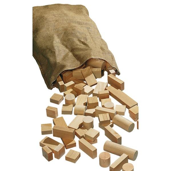 Klocki Drewniane naturalne w jutowym worku, 5 kg, ok. 100 klocków