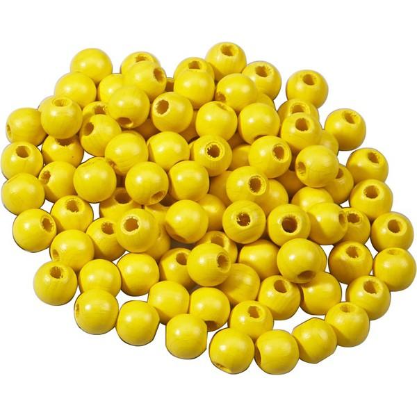 Korale z drewna - żółty 100 sztuk