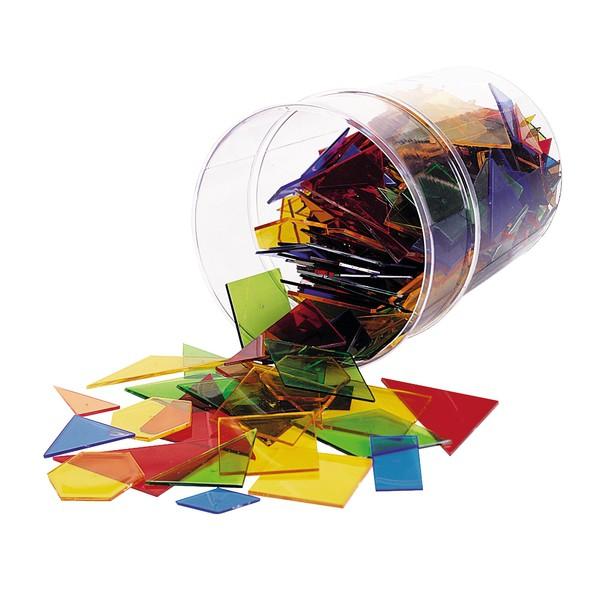 Figury geometryczne do układania, przezroczyste kolory, 450 części