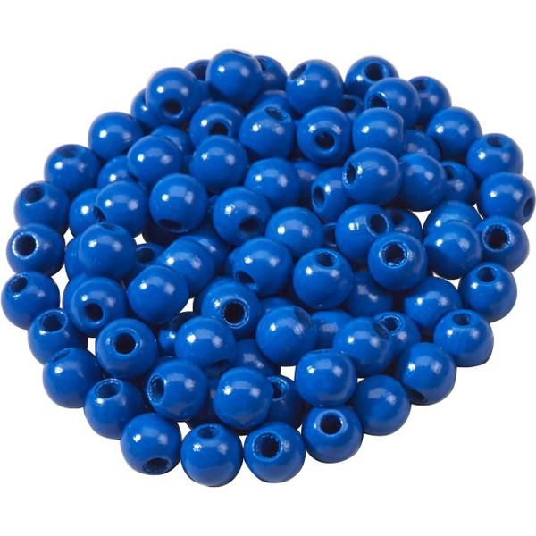 Korale z drewna - niebieski 100 sztuk