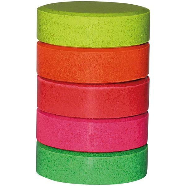 """Bloczki farb temperowych """"Neon"""" średnica 4,4 cm, 5 sztuk"""