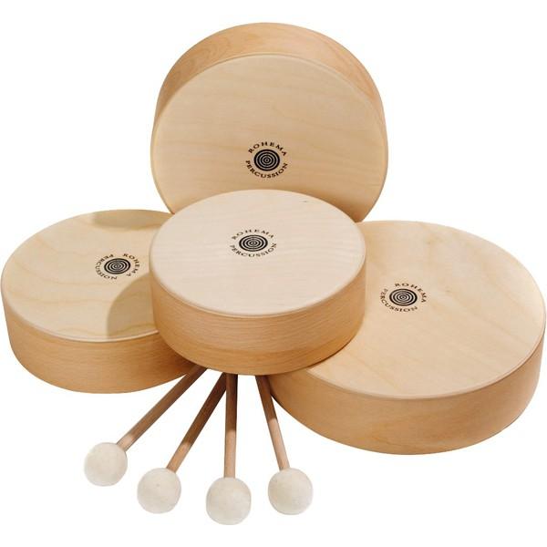 Komplet - tamburyny drewniane