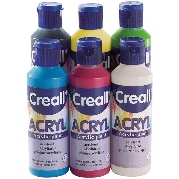 Farby akrylowe Creall, kolory podstawowe 6 x 80 ml
