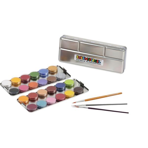 Profesjonalny zestaw do malowania twarzy, 24 farby + 3 pędzle