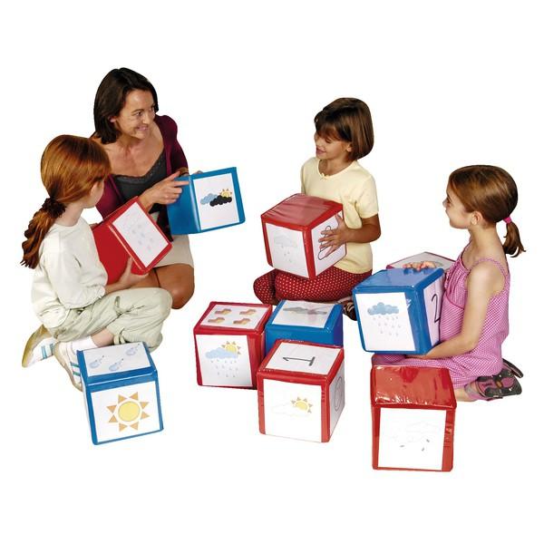Kostlki aktywizujące piankowe 20x20 cm - 2 sztuki czerwona niebieska + 20 kartek