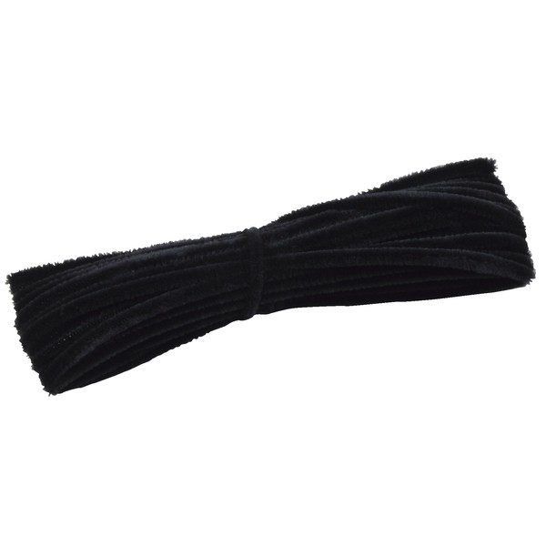 Grube, włochate druty szenilowe 12,5 m - czarne