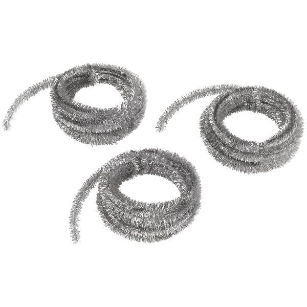 Druty szenilowe, metaliczne, srebrne, 3 x 500 cm