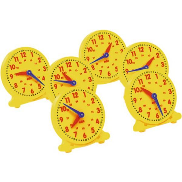 Zegary do nauki średnica 10,5 cm, 6 sztuk