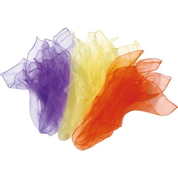 Zestaw chust szyfonowych nr 2 (fioletowa, żółta, pomarańczowa)
