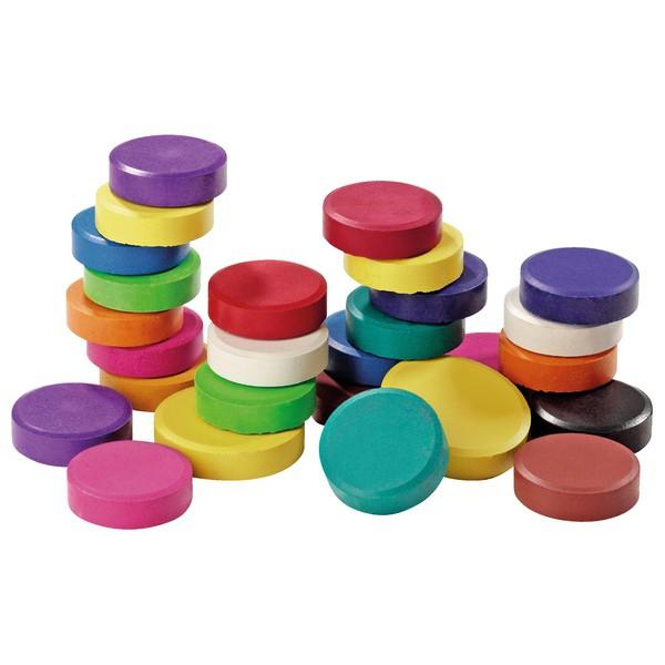Ogromny zestaw bloczków farb temperowych, 96 sztuk , średnica 5,7 cm.