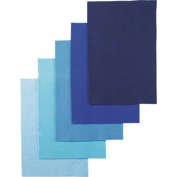 Filc w różnych kolorach, 25 arkuszy - odcienie niebieskiego