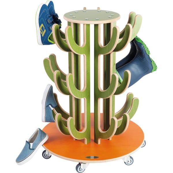 Mobilny stojak na buty / kalosze Kaktus - Drewniany na 15 par butów