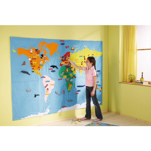 Mapa świata do przyczepiania 240 x 170 cm + 196 motywów do przyczepiania