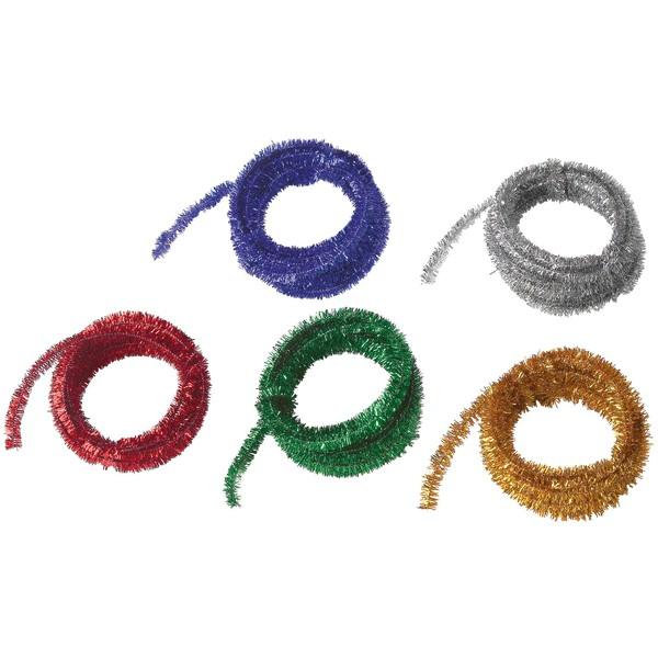 Druty szenilowe, metaliczne, kolorowe, 5 x 500 cm