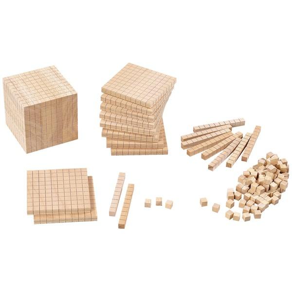 Kostka do nauki arytmetyki System dziesiętny Blok 1-1000 Jedności Dziesiątki Setki Drewno