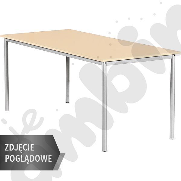 Stół Mila 160x80 rozm. 4, 8os., stelaż niebieski, blat biały, obrzeże ABS, narożniki proste