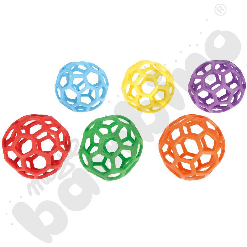 Piłki ażurowe miękkie śr. 21,6 cm - zestaw 6 szt.