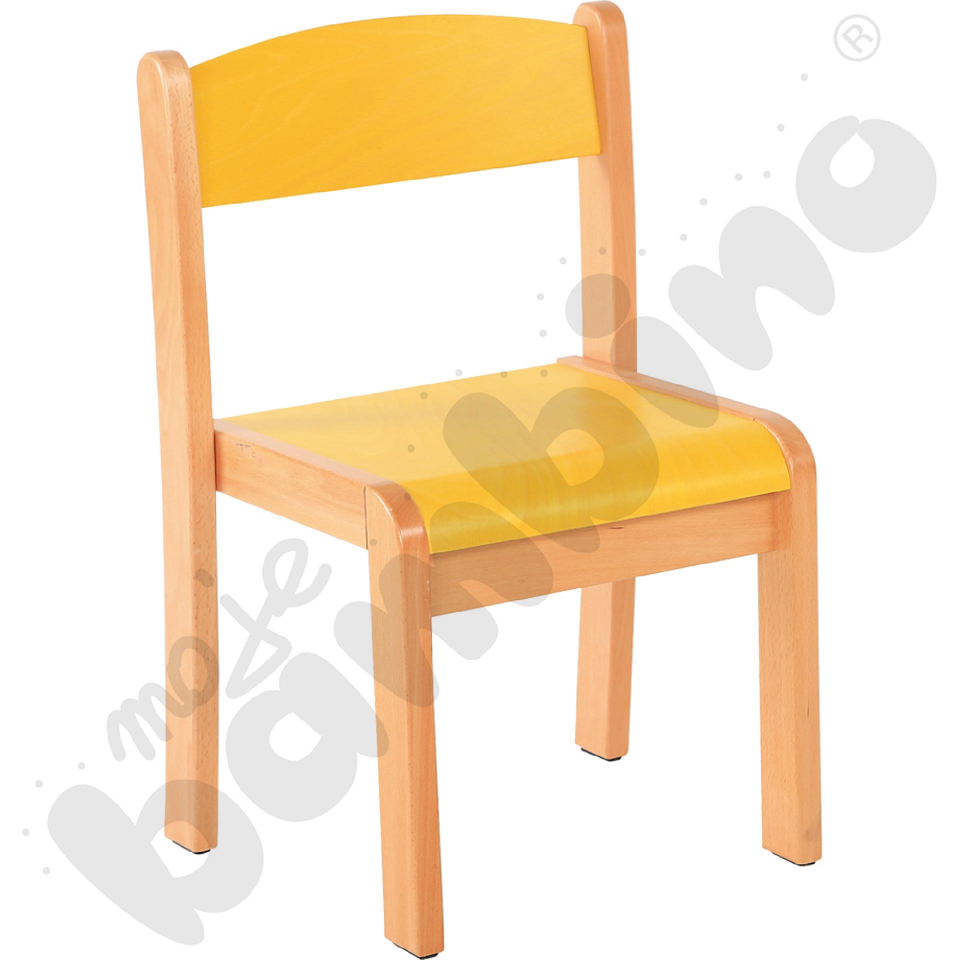 Krzesło Filipek żółte ze stopką filcową rozm. 2