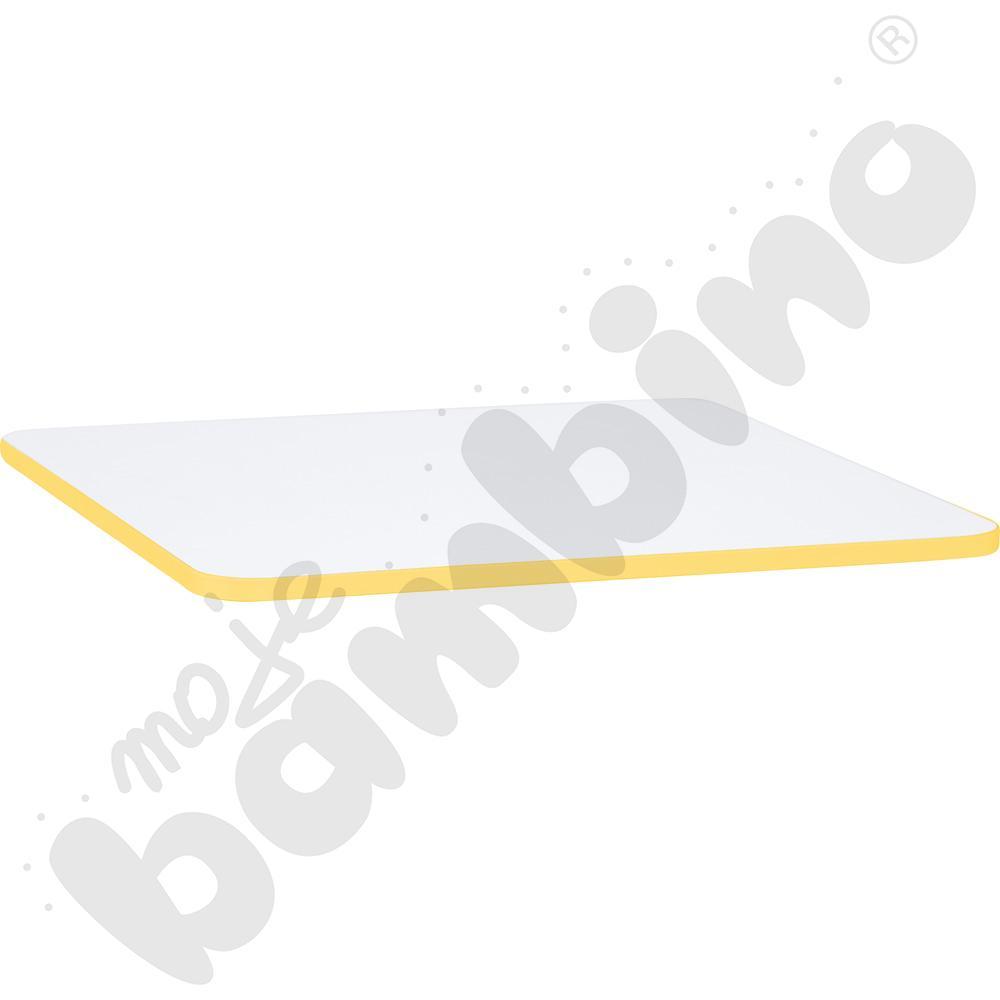 Blat Quadro biały kwadratowy, żółte obrzeże
