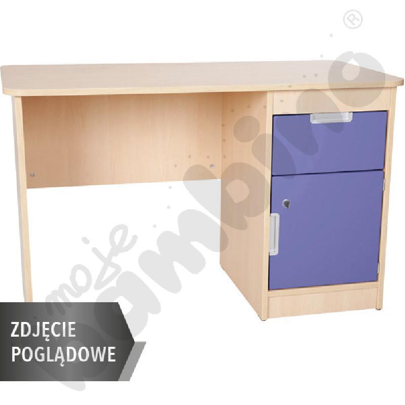Quadro - biurko z szafką i 1 szufladą  - niebieskie, w białej skrzyni
