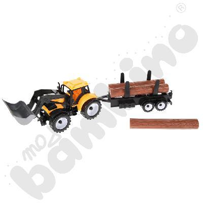 Spychacz z przyczepą do przewozu drewna