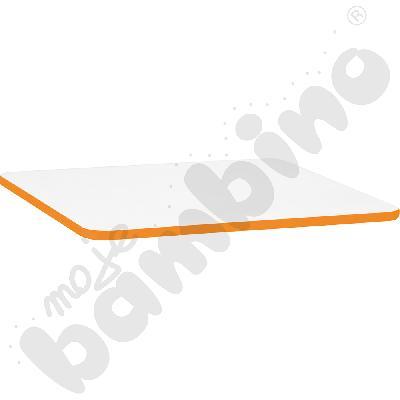 Blat Quadro biały prostokątny, pomarańczowe obrzeże