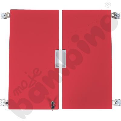 Quadro - drzwiczki średnie z zamkiem 90, do szafek bez przegrody, 1 para, cichy domyk - czerwone
