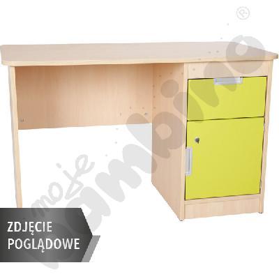 Quadro - biurko z szafką i 1 szufladą  - limonkowe, w białej skrzyni