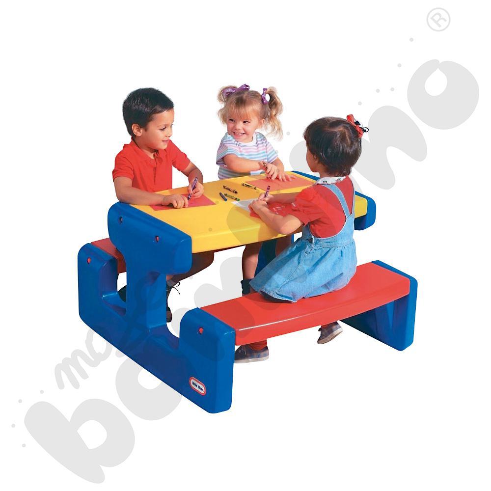 Duży stolik piknikowy - niebiesko-czerwono-żółty