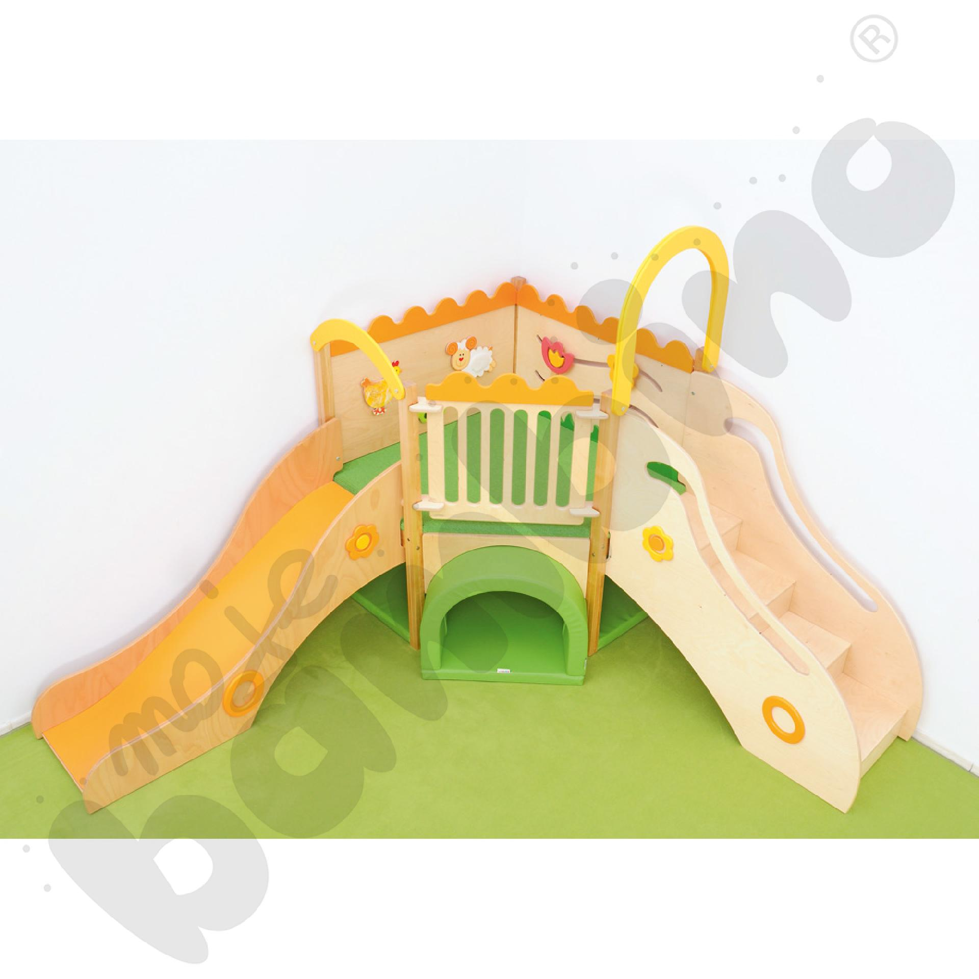 Kącik zabaw łąka z elementami sensorycznymi lewy