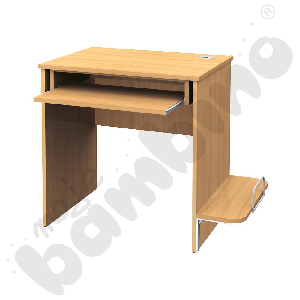 Stolik komputerowy STANDARD  z półką na komputer i szufladą na klawiaturę - buk