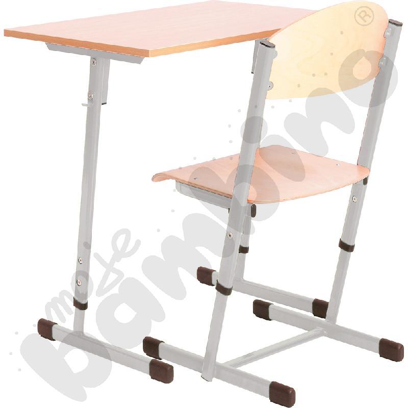 Stół T 1-os. z krzesłem T, rozm. 5-6, aluminium