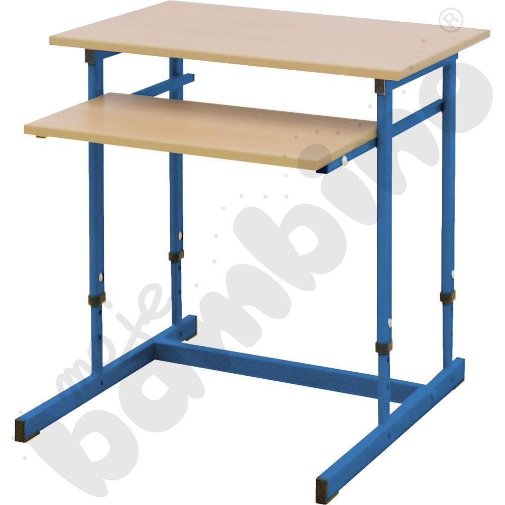 Stolik komputerowy NEO 1R 1 os. z regulowaną wysokością 3-7 - niebieski