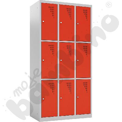 Szafka skrytkowa z 9 schowkami drzwi czerwone