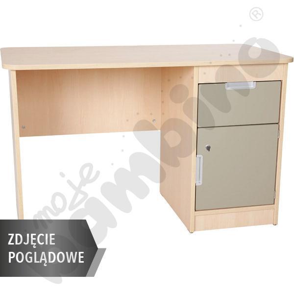 Quadro - biurko z szafką i 1 szufladą  - beżowe, w białej skrzyni