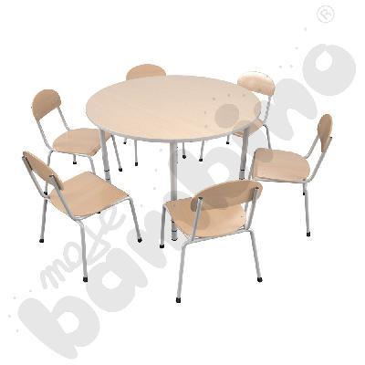 Stół Bambino okrągły z 6 krzesłami Bambino rozm. 2