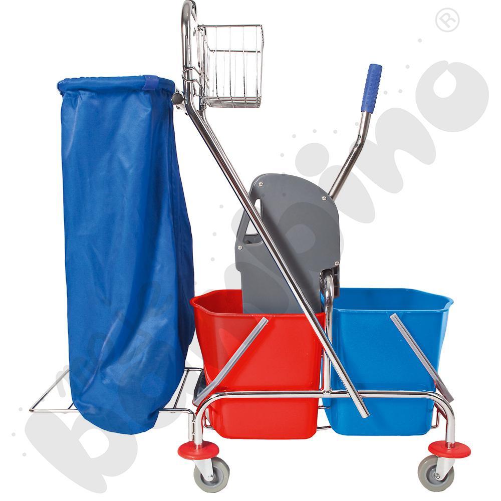 Wózek dwywiadrowy z prasą, uchwytem na worek i koszykiem