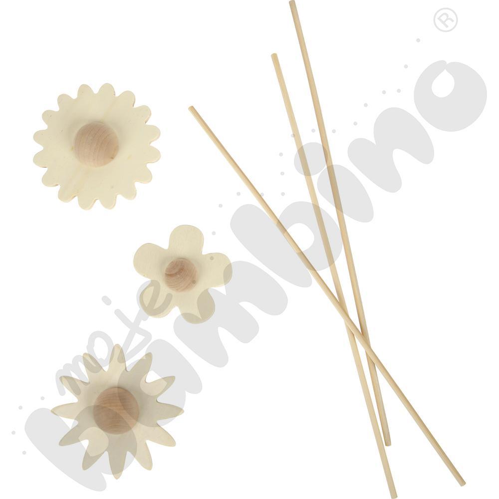 Drewniane kwiatki do ozdabiania