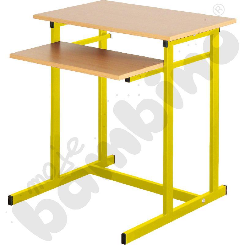 Stolik komputerowy NEO 1 1-os. ze stałą półką na klawiaturę  rozm. 6 - żółty
