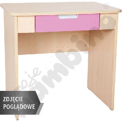 Quadro - biurko z szeroką szufladą - jasnoróżowe, w białej skrzyni