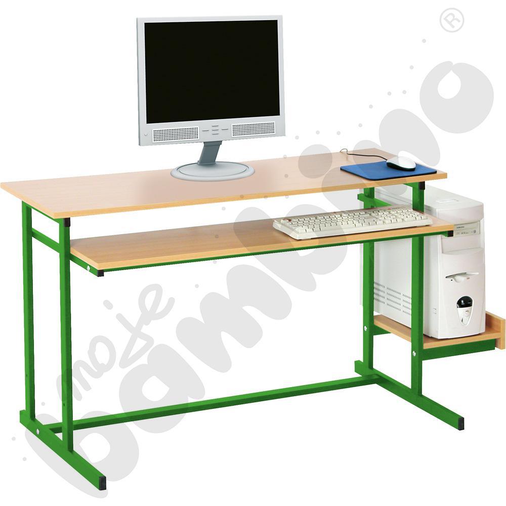 Stolik komputerowy NEO 2  2-os. ze stałą półką na klawiaturę  rozm. 6 - zielony
