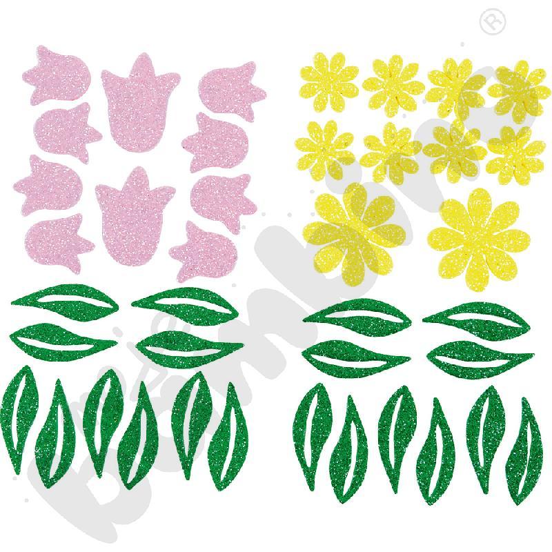 Kwiatki z brokatem – naklejki