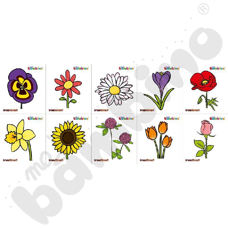 Naklejki na szatnię - kwiaty, 10 szt.