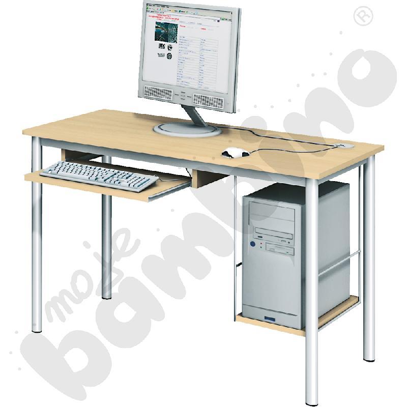 Stolik komputerowy LUX  z półką na komputer i szufladą na klawiaturę - klon