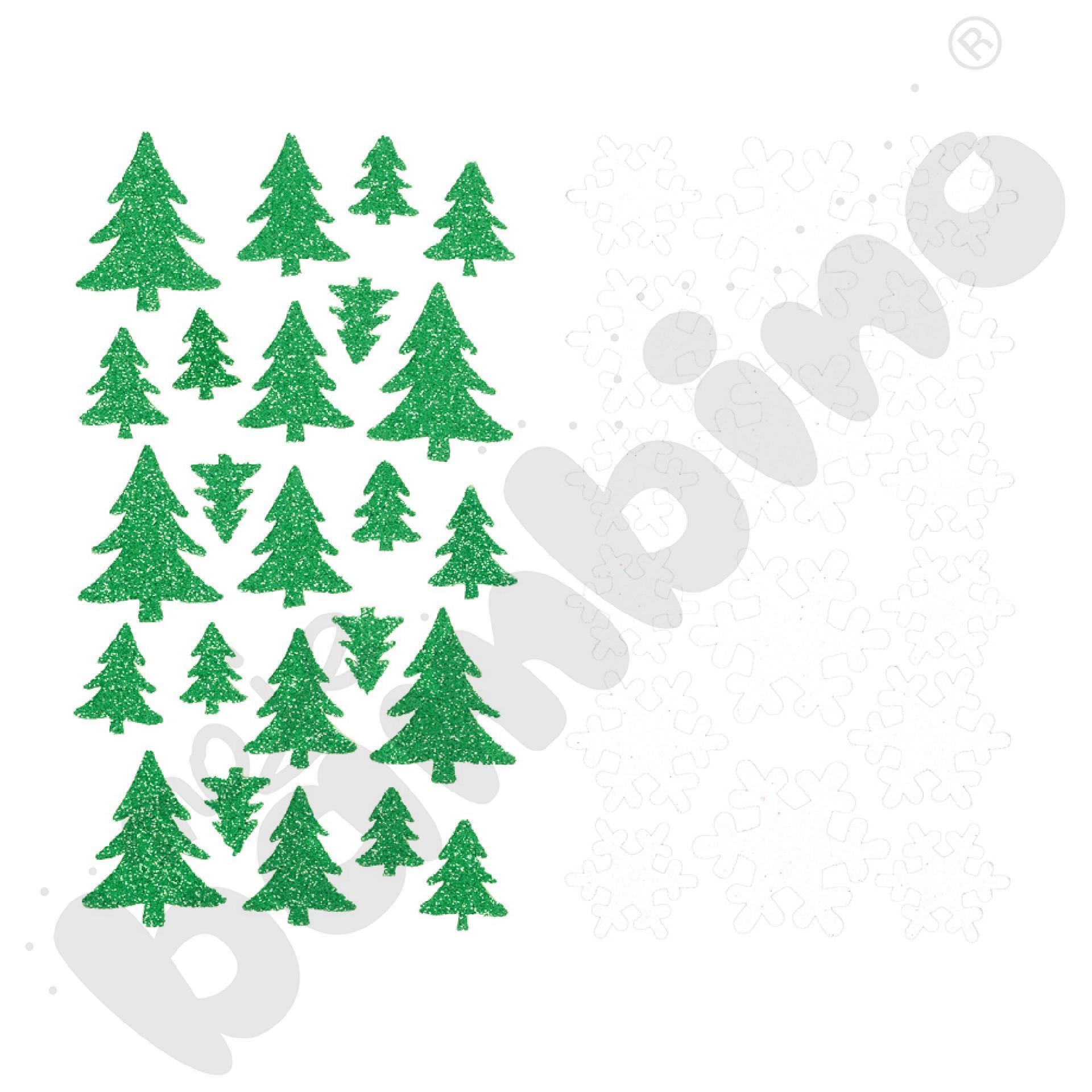 Choinki i płatki śniegu z brokatem – naklejki