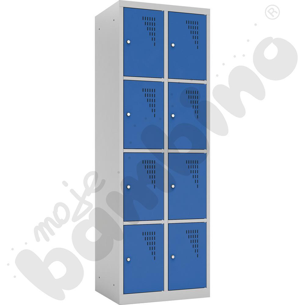 Szafka ubraniowa z 8 schowkami drzwi niebieskie
