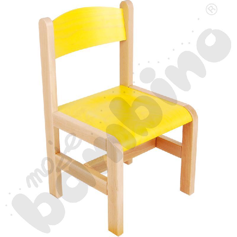 Krzesło drewniane żółte ze stopką filcową rozm. 1