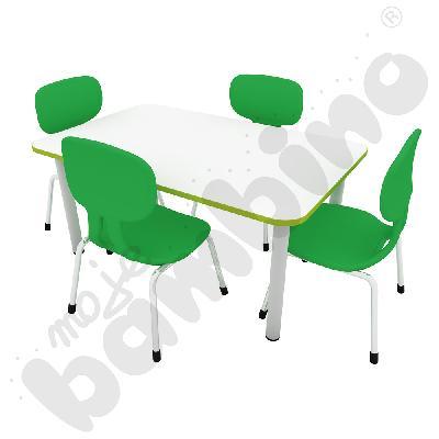 Stół Colores prostokątny z nogami metalowymi + 4 krzesła Colores rozm. 2 zielone